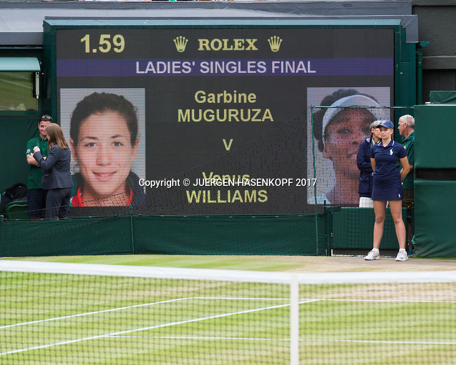 Wimbledon Feature, Anzeigetafel auf dem Centre Court, Damen Finale Garbine Muguruza, Venus Williams, Scoreboard,<br /> <br /> Tennis - Wimbledon 2017 - Grand Slam ITF / ATP / WTA -  AELTC - London -  - Great Britain  - 15 July 2017.