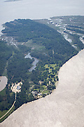 Aerial view of Jamestown Island on the James River. Site of the first permanent English settlement in the new world. National Historic Site.