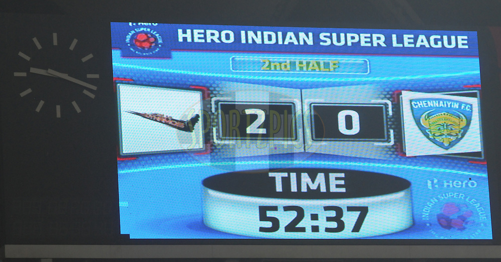 A electronic screen during match 12 of the Hero Indian Super League between The Delhi Dynamos FC and Chennaiyin FCheld at the Jawaharlal Nehru Stadium, Delhi, India on the 25th October 2014.<br /> <br /> Photo by:  Arjun Panwar/ ISL/ SPORTZPICS