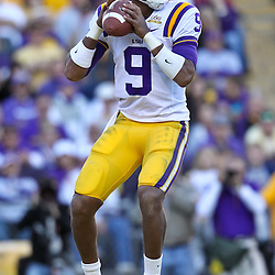 November 6, 2010; Baton Rouge, LA, USA;  LSU Tigers quarterback Jordan Jefferson (9) looks to pass during the second half against the Alabama Crimson Tide at Tiger Stadium. LSU defeated Alabama 24-21.  Mandatory Credit: Derick E. Hingle