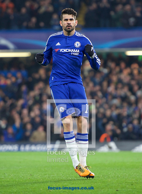Diego Costa of Chelsea celebrates after scoring the equaliser during the UEFA Champions League match at Stamford Bridge, London<br /> Picture by Alan Stanford/Focus Images Ltd +44 7915 056117<br /> 09/03/2016