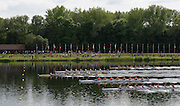 Hazewinkel, Belgium. Junior Men's eights final, France [FRA JM1X]  lead the field home to clinch the Gold medal at the   2014 European Junior Championships, Bloso, Rowing Course, Heindonk, Willebroek, near Mechelen, <br /> 16:33:03  Sunday  25/05/2014 <br /> [Mandatory Credit: Peter Spurrier/Intersport<br /> Images]