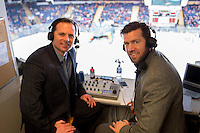 KELOWNA, CANADA - FEBRUARY 27: Regan Bartell and Kent Simpson in the AM 1150 broadcast booth on February 27, 2016 at Prospera Place in Kelowna, British Columbia, Canada.  (Photo by Marissa Baecker/Shoot the Breeze)  *** Local Caption *** Regan Bartell; Kent Simpson;