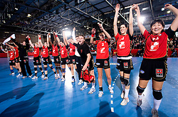 Players of Krim (from R Liudmila Bodnieva, Alja Koren, Szandra Zacsik, Dragana Cvijic) celebrate at handball match of Round 3 of Champions League between RK Krim Mercator and Hypo Niederosterreich, on November 8, 2009, in Arena Kodeljevo, Ljubljana, Slovenia.  Krim won 35:24. (Photo by Vid Ponikvar / Sportida)