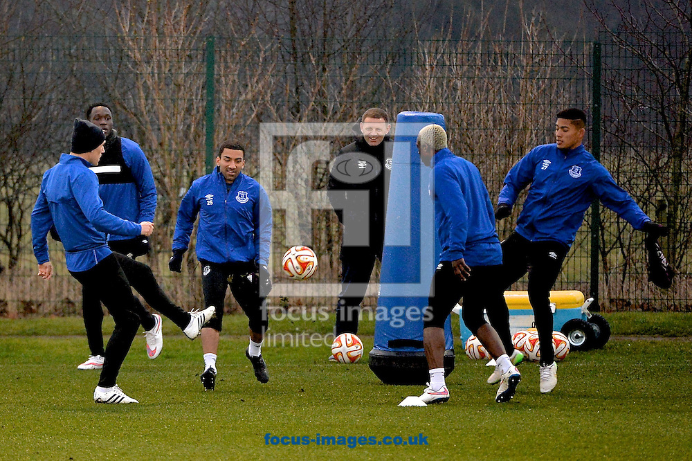 Everton players during the Everton training session prior to their  Europa League match against Dynamo Kyiv at Finch Farm, Liverpool<br /> Picture by Ian Wadkins/Focus Images Ltd +44 7877 568959<br /> 11/03/2015
