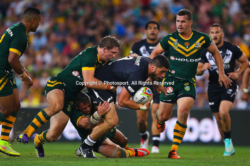 Jesse Bromwich during the Four Nations test match between Australia and New Zealand at Suncorp Stadium,  Brisbane Australia on October 25, 2014.