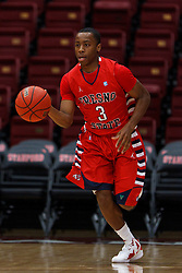 Nov 15, 2011; Stanford CA, USA;  Fresno State Bulldogs guard Kevin Olekaibe (3) dribbles the ball up court against the Southern Methodist Mustangs during the first half of a preseason NIT game at Maples Pavilion.  Mandatory Credit: Jason O. Watson-US PRESSWIRE