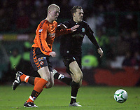 Photo: Paul Thomas/Sportsbeat Images.<br /> Hibernian v Dundee United. Clydesdale Bank Premier League. 24/11/2007.<br /> <br /> Steven Fletcher (R) of Hibs tries to get past Garry Kenneth.