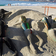 Sand sculptures on Copacaban beach, Rio de Janeiro,  Brazil. 9th July 2010. Photo Tim Clayton..