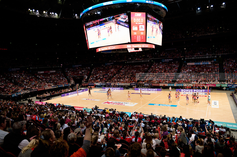 SYDNEY, AUSTRALIA - AUGUST 24: Swifts score a goal during the round 14 Super Netball match between the Swifts and the Queensland Firebirds at Qudos Bank Arena on August 24, 2019 in Sydney, Australia.(Photo by Speed Media/Icon Sportswire)