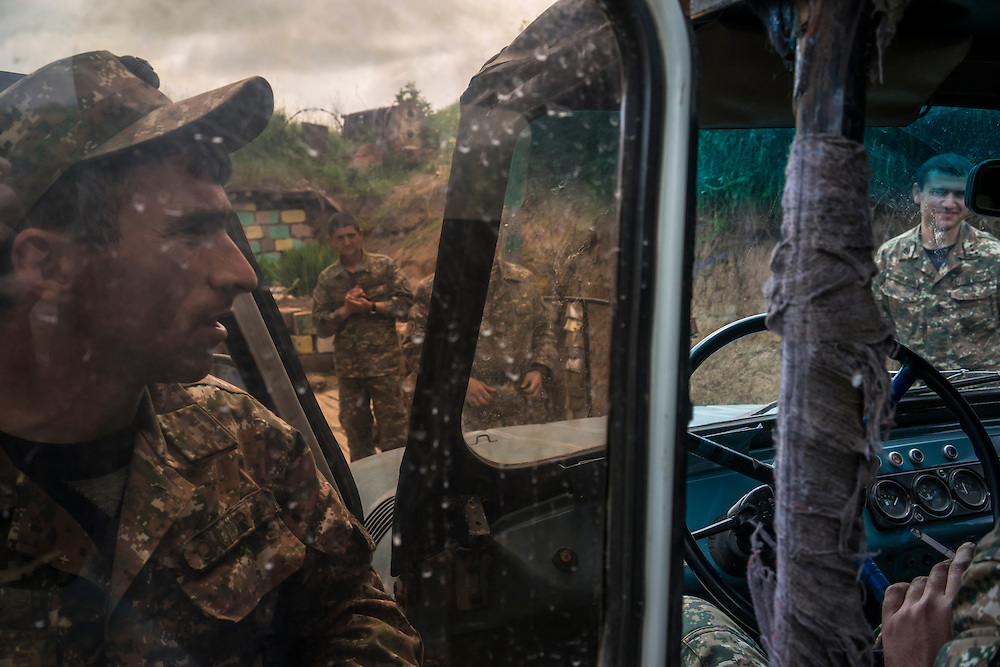 AGDAM, NAGORNO-KARABAKH - APRIL 21: Members of the armed forces of Nagorno-Karabakh at their post along the line of contact with Azerbaijani forces in the eastern direction on April 21, 2015 near the town of Agdam, Nagorno-Karabakh. Since signing a ceasefire in a war with Azerbaijan in 1994, Nagorno-Karabakh, officially part of Azerbaijan, has functioned as a self-declared independent republic and de facto part of Armenia, with hostilities along the line of contact between Nagorno-Karabakh and Azerbaijan occasionally flaring up and causing casualties. (Photo by Brendan Hoffman/Getty Images) *** Local Caption ***