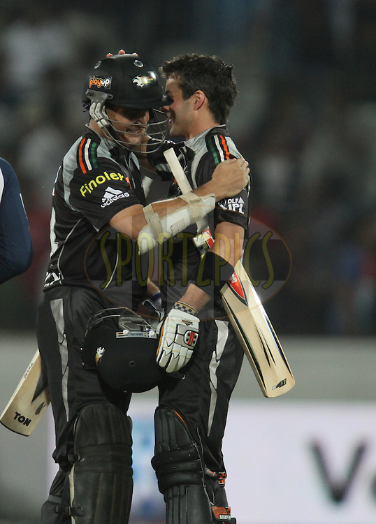 Callum Ferguson ( R) and Sourav Ganguly of Pune Warriors after winning  during match 53 of the Indian Premier League ( IPL ) between the Deccan Chargers and the Pune Warriors India held at the Rajiv Gandhi International Cricket Stadium in Hyderabad on the 10th May 2011.Photo by Parth Sanyal/BCCI/SPORTZPICS