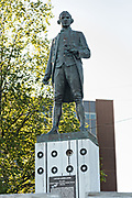 Statue of Captain James Cook at Resolution Park in downtown Anchorage, Alaska. Cook was British explorer, navigator, cartographer, and captain in the Royal Navy credited with identifying what came to be known as Cook Inlet in Alaska.