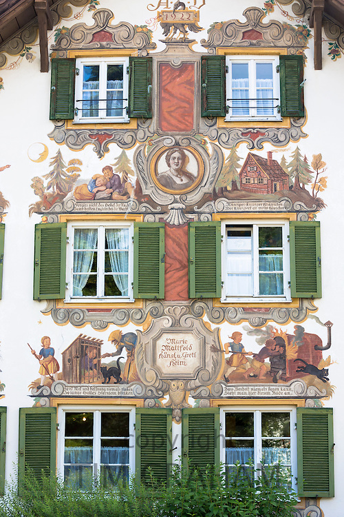 Painted facade of Grimms Fairy Tale story of Hansel and Gretel in the village of Oberammergau in Bavaria, Germany