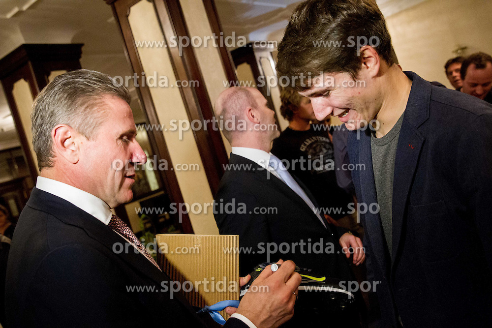 Sergey Bubka signing shoes of young pole vault athlete Robert Renner during his visit in Slovenia and meeting with young athletes on November 8, 2013 in Grand Hotel Toplice, Bled, Slovenia. Photo by Vid Ponikvar / Sportida