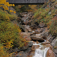 Nature landscape photography images of this scenic autumn covered Sentinel Pine Bridge setting from the Franconia Notch State Park of the White Mountains in New Hampshire are available as museum quality photography prints, canvas prints, acrylic prints or metal prints. Prints may be framed and matted to the individual liking and decorating needs:<br />