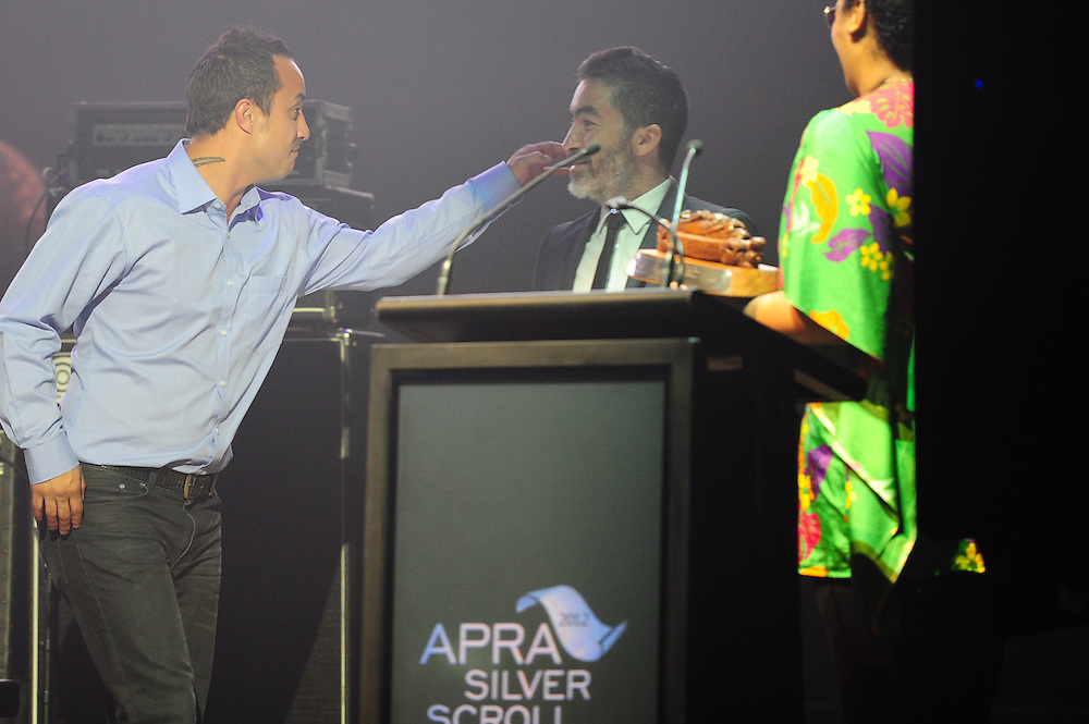 Te Awanui Reeder, winner of the APRA Maioha Award at the APRA Silver Scroll Awards 2012. Auckland Town Hall. 13 September 2012.