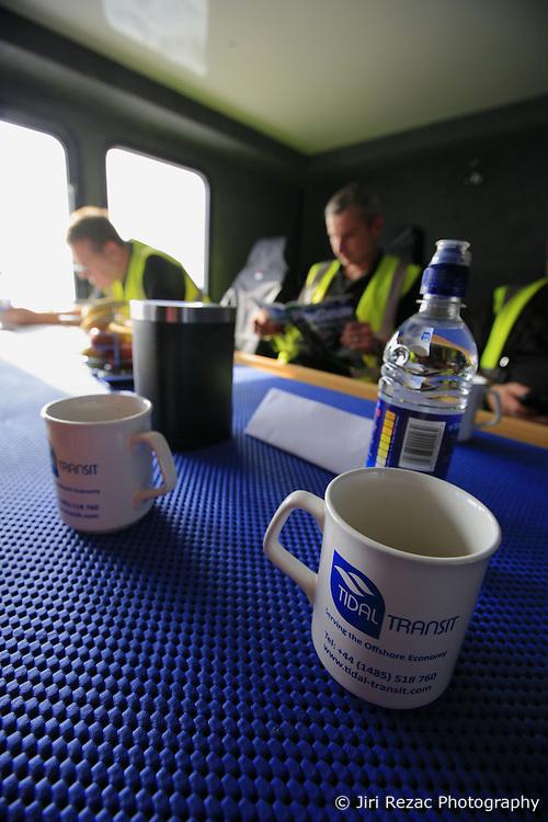 UK ENGLAND NORFOLK SHERINGHAM SHOAL 25SEP13 - Maintenance and inspection engineers during transit on the Tidal Transit vessel Tia Elizabeth en route to the Sheringham Shoal wind farm in the North Sea off the Norfolk coast, England.<br /> <br /> <br /> <br /> jre/Photo by Jiri Rezac<br /> <br /> <br /> <br /> © Jiri Rezac 2013