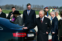 16.03.2016, Belgrad, SRB, der Britische Kronprinz Charles und seine Frau Camilla besuchen Serbien, im Bild British Crown Prince Charles and his wife Camilla, the Duchess of Cornwall, are visiting Serbia as part of a regional tour that includes Croatia, Serbia, Montenegro and Kosovo. They arrived at Nikola Tesla Airport where they are welcomed by Aleksandar Vucic, Prime Minister of Serbia. EXPA Pictures © 2016, PhotoCredit: EXPA/ Pixsell/ Srdjan Ilic<br /> <br /> *****ATTENTION - for AUT, SLO, SUI, SWE, ITA, FRA only*****