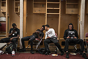 Houston, Texas - March 10, 2017: Dulani Robinson (right) talks to a teammate after a game against Grambling State at the Toyota Center. The Texas Southern Tigers beat the Grambling State Tigers in the semifinals of the SWAC Tournament. (Michael Starghill, Jr. for The Undefeated)