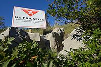 Land mine warning, Velebit Nature Park, Rewilding Europe rewilding area, Velebit  mountains, Croatia