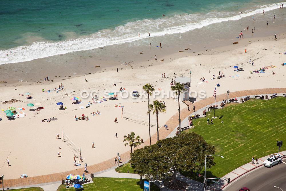 Main Beach Laguna Beach California Aerial Stock Photo