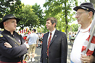 Members of Sons of Union Veterans of the Civil War marched in Wantagh Independence Day Parade on Wednesday, July 4, 2012, on Long Island, New York, USA. John Portanova (holding flag) of Wantagh is descendent of General Sickles, and Frank Scaturro (center) in suit and tie) is President of Grant Monument Association.