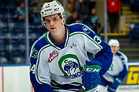 KELOWNA, BC - OCTOBER 16:  Kye Buchanan #34 of the Swift Current Broncos warms up against the Kelowna Rockets at Prospera Place on October 16, 2019 in Kelowna, Canada. (Photo by Marissa Baecker/Shoot the Breeze)
