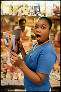 Roxanne Shante reading Penthouse magazine, New York 1980s