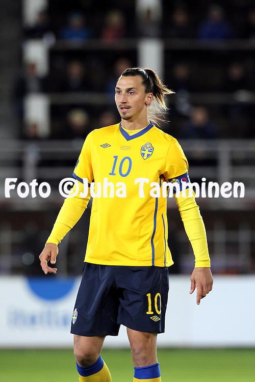 7.11.2011, Olympiastadion, Helsinki..UEFA European Championship 2012 Qualifying match, Finland v Sweden .Zlatan Ibrahimovic - Sweden..