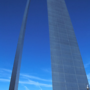 Jefferson National Expansion Memorial and Gateway Arch. The tallest man-made monument in the US,it was designed by architect Eero Saarinen to commemorate western expansion. The arch sits on the banks of the Mississippi River in St. Louis Missouri. High wire walker Nik Wallenda performed a 1300 foot walk 10 stores over the Atlantic City beach on Thursday August 9th as a promotion for his family experience show at the Tropicana Resort. Here, Wallenda walks the wire shadowed by a helicopter.  ( ED HILLE / Staff Photographer).
