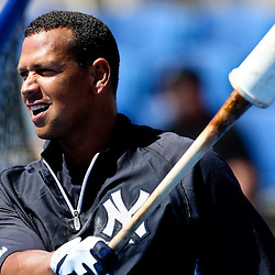 March 8, 2011; Dunedin, FL, USA; New York Yankees third baseman Alex Rodriguez (13) during batting practice before a spring training game against the Toronto Blue Jays at Florida Auto Exchange Stadium. Mandatory Credit: Derick E. Hingle-US PRESSWIRE