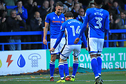 GOAL Bradden Inman celebrates scoring 1-0  during the The FA Cup match between Rochdale and Bromley at Spotland, Rochdale, England on 4 November 2017. Photo by Daniel Youngs.