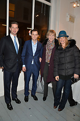 Left to right, the HON.JAMES TOLLEMACHE, JOSH HOPKINS, LADY TOLLEMACHE and the HON.MRS (SELINA) HOPKINS at an exhibition of works by Beatrice von Preussen held at The Gallery on The Corner, 155 Battersea Park Road, London SW8 on 11th December 2013.
