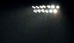 Heavy rain falls during the Carabao Cup, First Round match at the Weston Homes Community Stadium, Colchester.