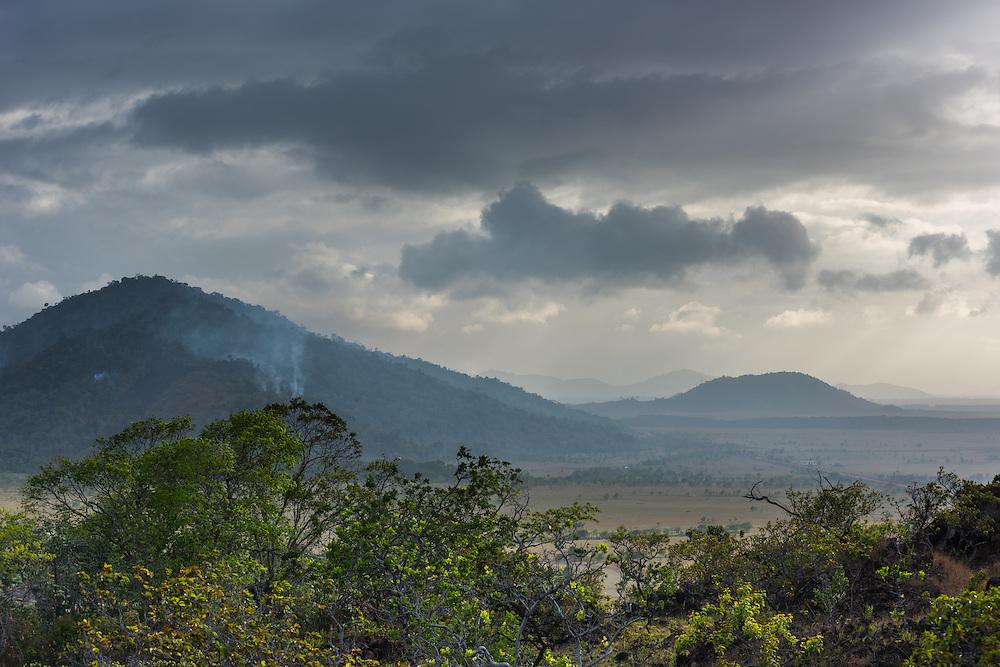 Pakaraima mountains at sunrise, Rupununi, Guyana.