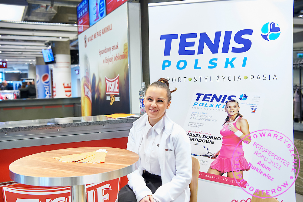 GDANSK, POLAND - 2016 MARCH 06: Tenis Polski   commercial stand during the Davis Cup / World Group 1st round tennis match between Poland and Argentina at Ergo Arena on March 6, 2016 in Gdansk, Poland<br /> <br /> Picture also available in RAW (NEF) or TIFF format on special request.<br /> <br /> Any editorial, commercial or promotional use requires written permission.<br /> <br /> Mandatory credit:<br /> Photo by &copy; Adam Nurkiewicz / Mediasport