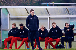 WOLVERHAMPTON, ENGLAND - Tuesday, December 19, 2017: Liverpool's Under-18 manager Steven Gerrard during an Under-18 FA Premier League match between Wolverhampton Wanderers and Liverpool FC at the Sir Jack Hayward Training Ground. (Pic by David Rawcliffe/Propaganda)