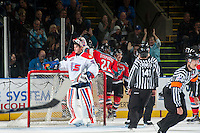 KELOWNA, CANADA - NOVEMBER 7: The Kelowna Rockets celebrate a goal against the Spokane Chiefs on November 7, 2014 at Prospera Place in Kelowna, British Columbia, Canada.  (Photo by Marissa Baecker/Shoot the Breeze)  *** Local Caption *** goal; Tyson Baillie;