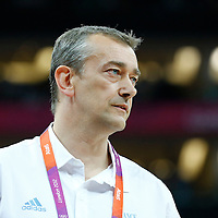 09 August 2012: France head coach Pierre Vincent is seen during 81-64 Team France victory over Team Russia, during the women's basketball semi-finals, at the 02 Arena, in London, Great Britain.