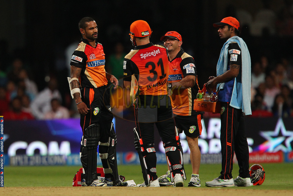 Shikhar Dhawan captain of the Sunrisers Hyderabad receives treatment on the field during match 24 of the Pepsi Indian Premier League Season 2014 between the Royal Challengers Bangalore and the Sunrisers Hyderabad held at the M. Chinnaswamy Stadium, Bangalore, India on the 4th May  2014<br /> <br /> Photo by Ron Gaunt / IPL / SPORTZPICS<br /> <br /> <br /> <br /> Image use subject to terms and conditions which can be found here:  http://sportzpics.photoshelter.com/gallery/Pepsi-IPL-Image-terms-and-conditions/G00004VW1IVJ.gB0/C0000TScjhBM6ikg