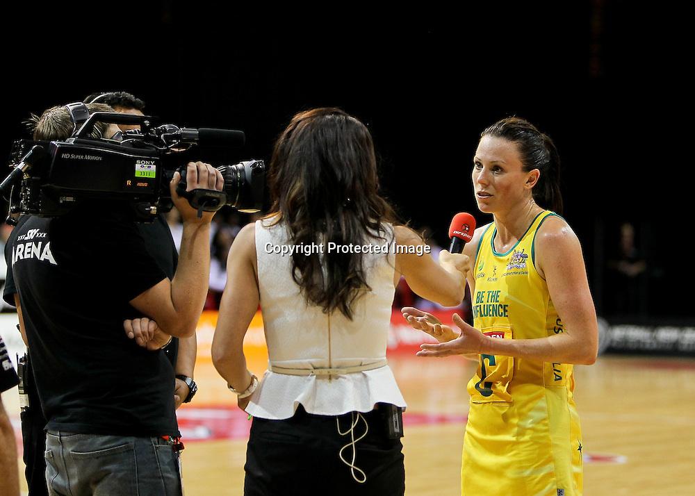 Australia captain Natalie Von Bertouch is interviewed by media after the game.  New World Quad Series - Silver Ferns v Australian Diamonds, 1 November 2012.  Photo:  Bruce Lim / www.photosport.co.nz