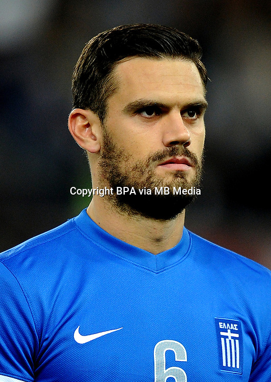 Football Fifa Brazil 2014 World Cup Matchs-Qualifier / Europe - Play-Off -1 Leg / <br /> Greece vs Romania 3-1  ( Karaiskaki Stadium  , Athens-Pireus , Greece ) <br /> Alexandros TZIOLIS of Greece ,during the match between Greece and Romania