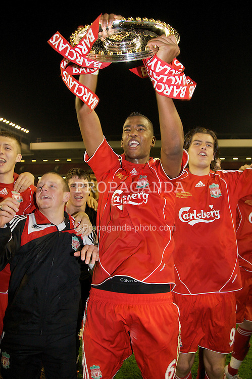 LIVERPOOL, ENGLAND - Wednesday, May 7, 2008: Liverpool's Damien Plessis and Jordy Brouwer celebrate with the trophy after beating Aston Villa 3-0 during the play-off final of the FA Premier League Reserve League at Anfield. (Photo by David Rawcliffe/Propaganda)