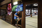 Matsuyama, September 3 2015 - Dogo Onsen, Japan's oldest hot spring, celebrate the 120th anniversary in 2014 by creating an art festival. The artist invited in 2015 is Japanese photographer Mika NINAGAWA.<br /> Inside the main building.