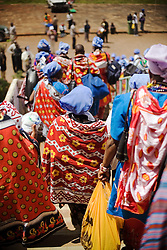 African women during the World Social Forum, from Woman's Guild organization at Moi Stadium. Nairobi, Kenya.