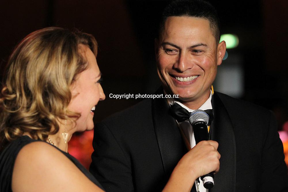 301113 2013 Melody Robinson speaks to Brad Rona at the Trillian Trust Maori Sports Awards at Vodafone Events Centre, Manukau. Photo: Fiona Goodall/photosport.co.nz