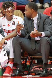 05 November 2016:  Andre Washington(15) and Spencer Johnson during an NCAA  mens basketball game where the Quincy Hawks lost to the Illinois State Redbirds in an exhibition game at Redbird Arena, Normal IL