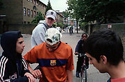 Group of bored teenage boys bicycles Lambeth Walk South London c.2000