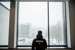 March 2, 2018 - Birmingham, GREAT BRITAIN - 180302 Austin Hamilton of Sweden looks out a window during day two of the IAAF World Indoor Championships on March 2, 2018 in Birmingham..Photo: Jon Olav Nesvold / BILDBYRN / kod JE / 160207 (Credit Image: © Jon Olav Nesvold/Bildbyran via ZUMA Press)